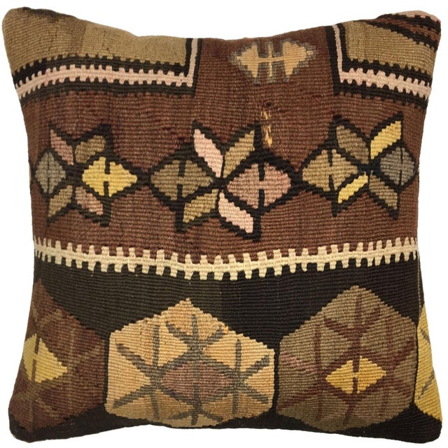 "Boho Chic Vintage Kilim Pillow | 18"" For Sale - Image 3 of 3"