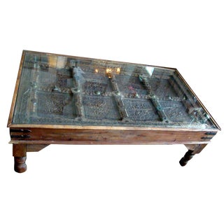20th Century Moroccan Door Brass Mounts Coffee Table For Sale