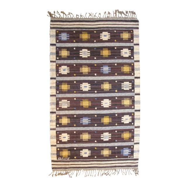 Mid 20th Century Swedish Flat Weave Rug For Sale