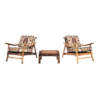 Pagoda Rattan Chairs Ottoman Set in the Manner of John Wisner Ficks Reed For Sale