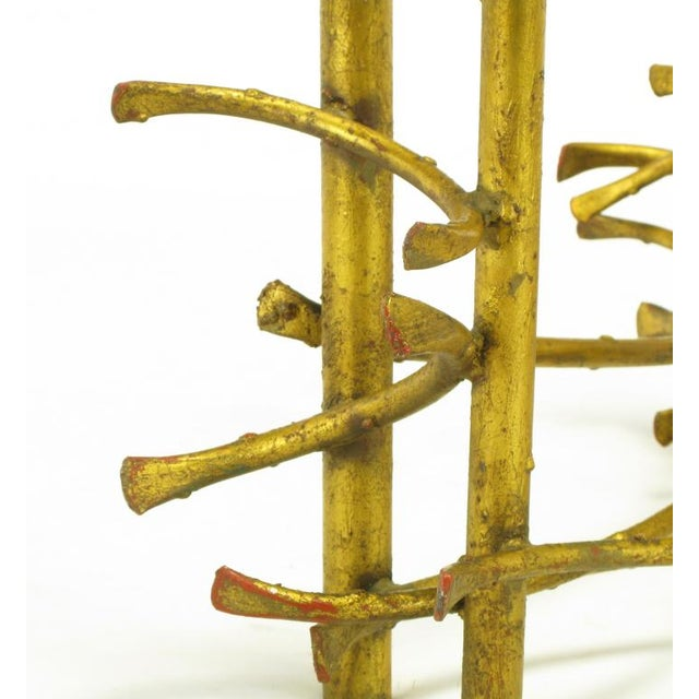 Gold Brutalist Gilt Iron Lotus Coffee Table For Sale - Image 8 of 8