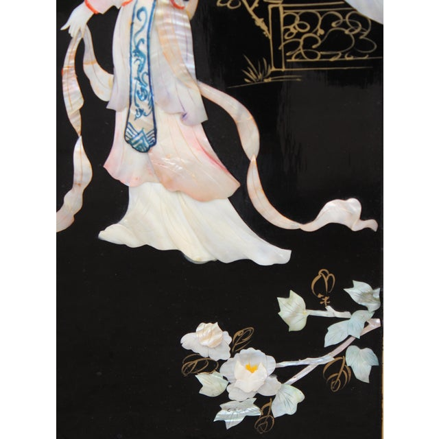Asian Wall Panels Depicting Chinese Performers or Geishas For Sale - Image 4 of 13