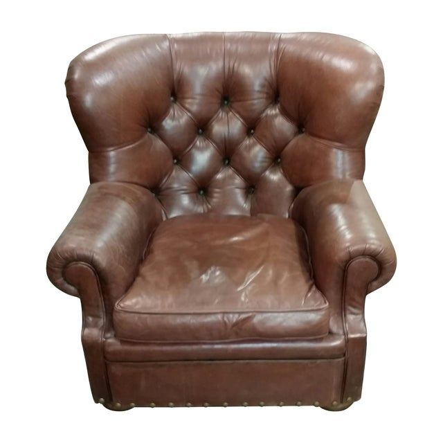 Vintage Ralph Lauren Leather Chair with Ottoman For Sale - Image 5 of 7