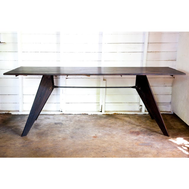 """Prouve Style Artisan Made Em Solvay Black Dining Conference Table - Black Brown 80"""" For Sale - Image 11 of 11"""