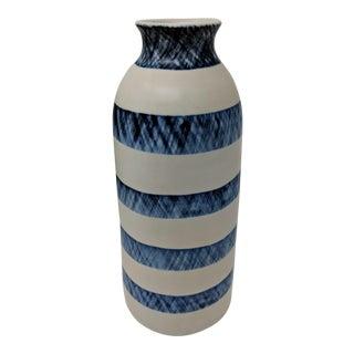 Ralph Lauren Inspired Handmade Crosshatched Blue & White Striped Vase For Sale