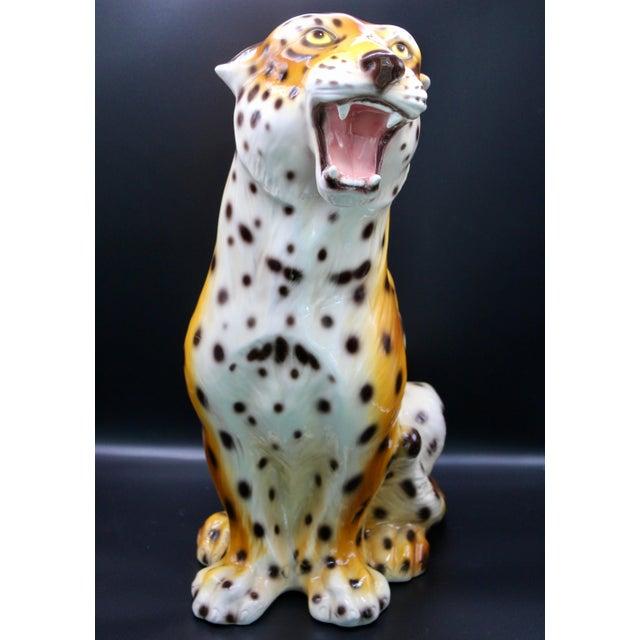 Monumental Italian Ceramic Leopard Statue For Sale - Image 13 of 13