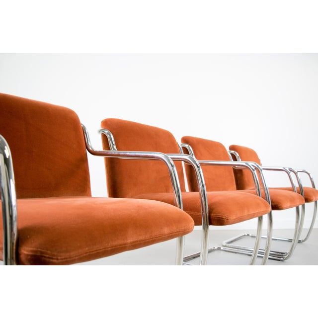 Brueton Chrome and Velvet Dining or Conference Chairs - Image 3 of 11