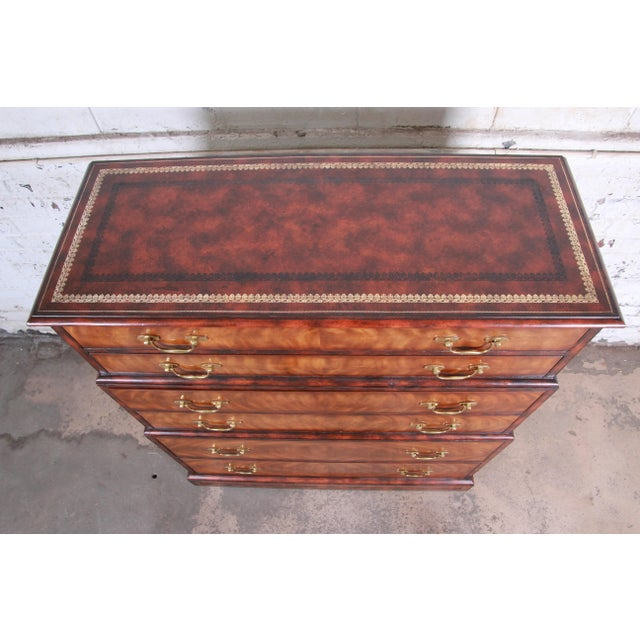 Maitland Smith Flame Mahogany and Leather Chest on Chest Highboy Dresser For Sale In South Bend - Image 6 of 13