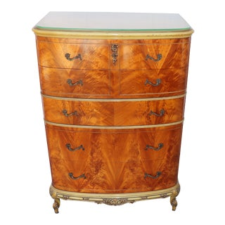 1930s French Burl Tiger Oak Tall Chest For Sale