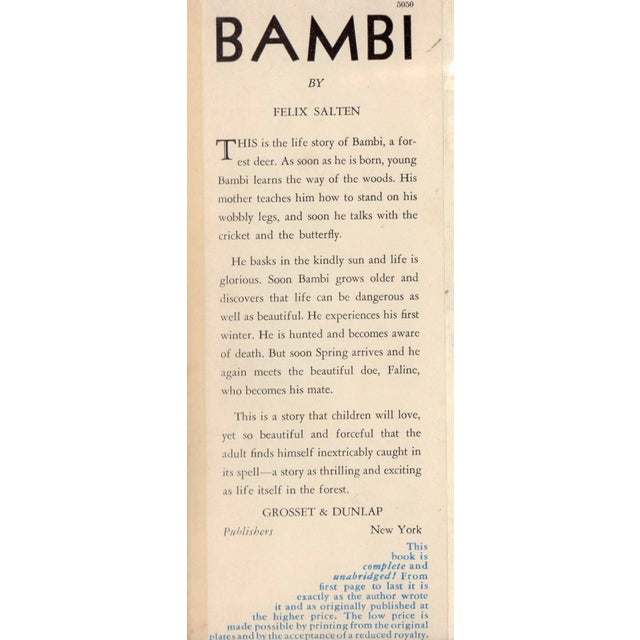 Bambi by Felix Salten. Illustrated by Foreward by John Galsworthy. New York City: Grosset & Dunlap, 1929. 293 pages....