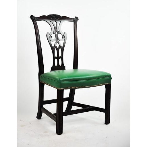 Set Of 6 Dining Chairs: Green Vinyl Upholstered Chippendale Dining Chairs