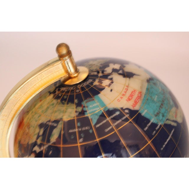 Traditional Vintage Blue Lapis World Globe on Brass Stand With Semiprecious Gems For Sale - Image 3 of 10