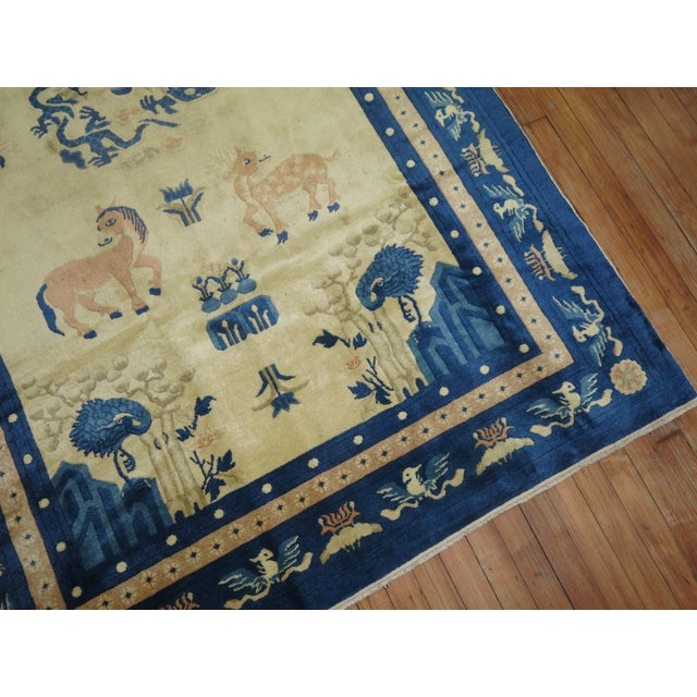 Chinese Antique Chinese Pictorial Elephant Rug, 4'9'' X 7'8'' For Sale - Image 3 of 13