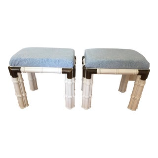 Vintage Mid Century Chinese Chippendale Stools - a Pair For Sale