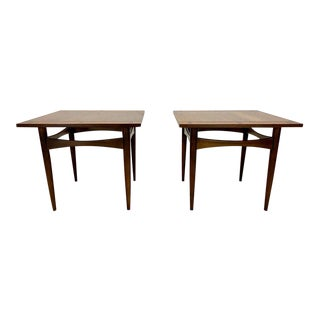 Mid Century Modern Walnut Square Side Tables With Rosewood Inlays - a Pair For Sale