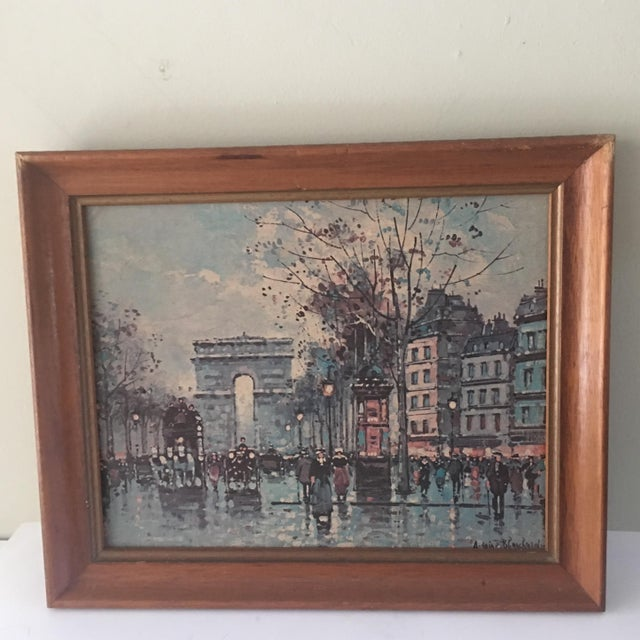 Vintage retro Parisian street scene signed by Antoine Blanchard. This great museum print edition is entitled Paris...
