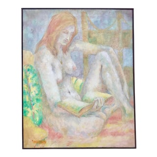 Vintage Original Oil Painting Nude Woman Reading by Wanda Varriale For Sale