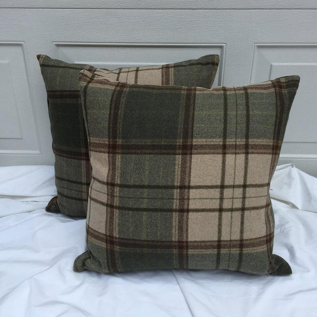Scottish Wool Plaid Pillows - A Pair - Image 2 of 5