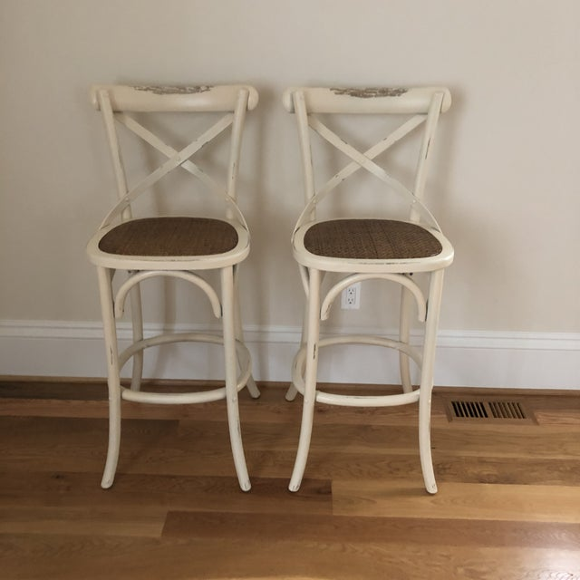 White French Style Cadence Counter Stools - a Pair For Sale - Image 8 of 8