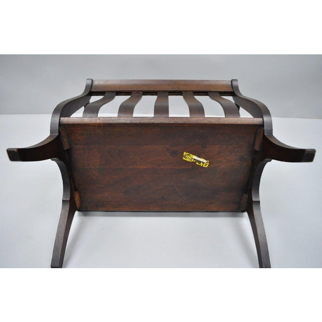 Brown Antique Ferguson Mahogany Lyre Harp Form Magazine Rack Canterbury Stand For Sale - Image 8 of 12