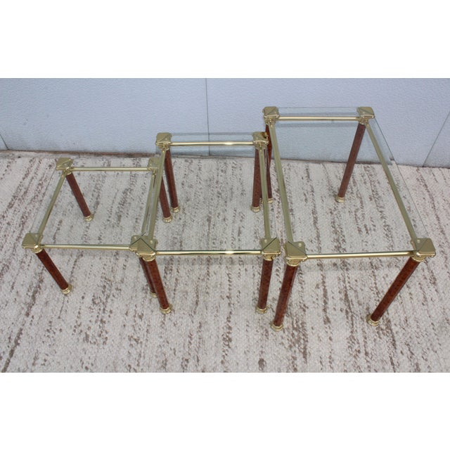 Mid-Century Modern 1980s Italian Brass Nesting Tables For Sale - Image 3 of 11
