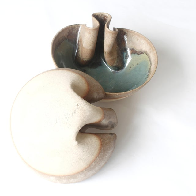 Contemporary Glazed Folded Bowls - a Pair For Sale - Image 4 of 5