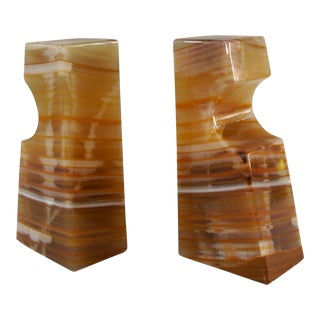 Vintage Sculptural Polished Stone Bookends - a Pair For Sale