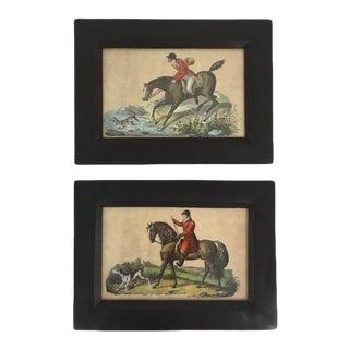 Vintage Petite Framed English Fox Hunting Pictures - a Pair For Sale