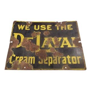 Vintage Worn Porcelain De Laval Cream Separator Sign