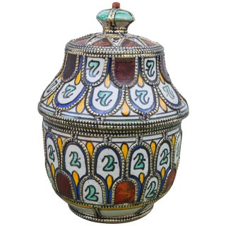 Moroccan Fine Ceramic Bowl With Lid For Sale