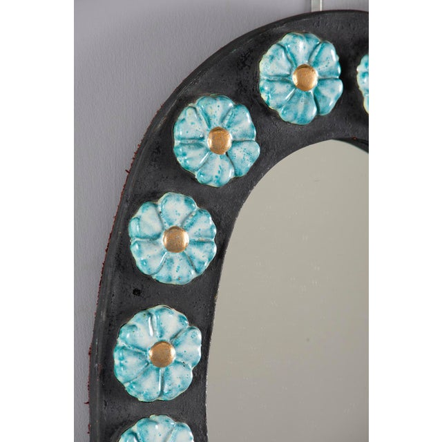 Boho Chic Mid-Century Oval Ceramic Mirror With Flowers For Sale - Image 3 of 10