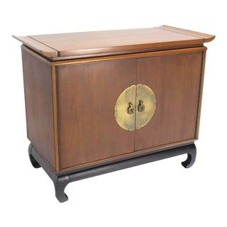 Oriental Modern Walnut Server Cabinet For Sale