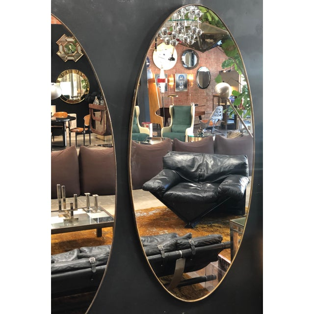 Oversize Oval Wall Mirrors, Italy, Late 1960s - a Pair For Sale - Image 4 of 10