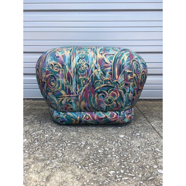 1980s 1980's Abstract Karl Springer Style Pouf Ottoman For Sale - Image 5 of 5