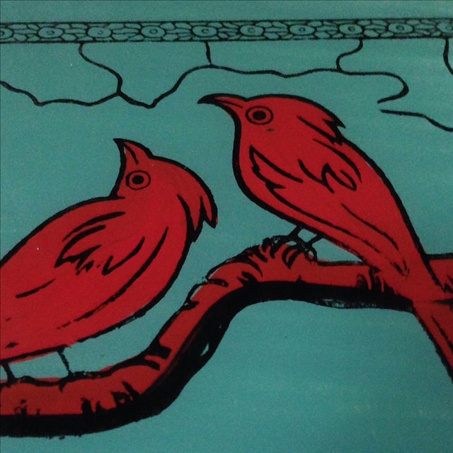 Vintage Glass-Top Painted Bird Tray - Image 9 of 11