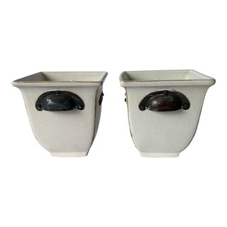White Crackle Glaze Planters - a Pair For Sale