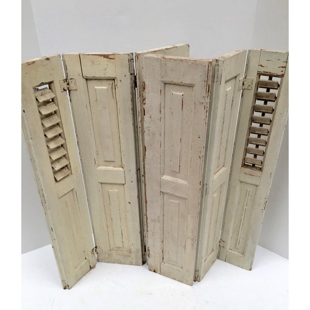 Vintage French Mini Trifold Shutters - A Pair For Sale - Image 9 of 9