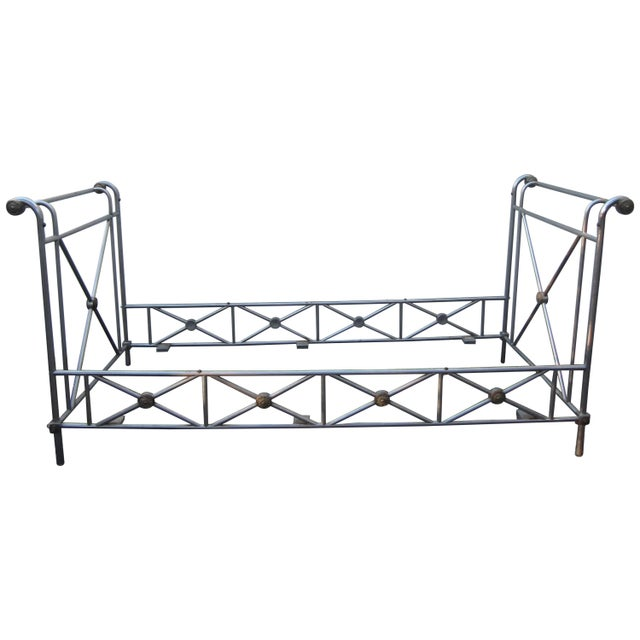 Gold Maison Jansen Steel and Brass Campaign Style Day Bed For Sale - Image 8 of 8