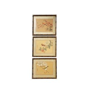 Vintage Asian Birds and Flowering Tree Silk Paintings - Set of 3 For Sale