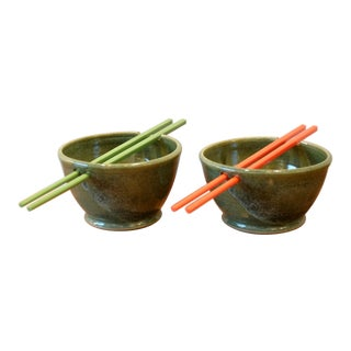 Studio Pottery Ceramic Rice Bowls With Chopstick Rests - A Pair