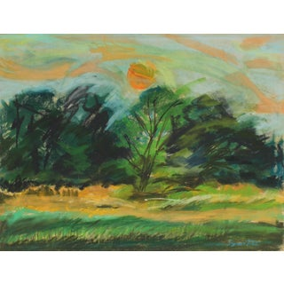Seymour Tubis Countryside Landscape Drawing in Pastel, 20th Century For Sale