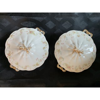 "Antique French Limoges Petite Pink Roses ""The Princess"" Round Serving Dishes With Lids by Haviland - a Pair Preview"