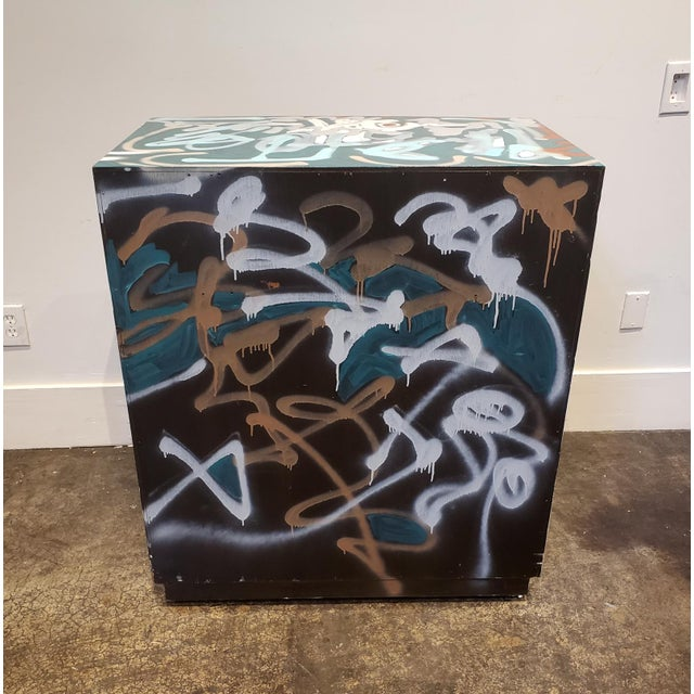 Black Graffitied Artist Painted Chest of Drawers For Sale - Image 8 of 10