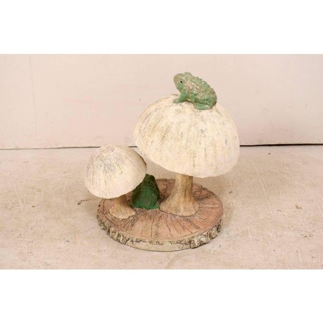 Green Tall Mushrooms and Frogs Garden Sculpture on Faux Bois Slab Base For Sale - Image 8 of 11