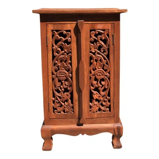 Asian Style Carved Door Cabinet For Sale