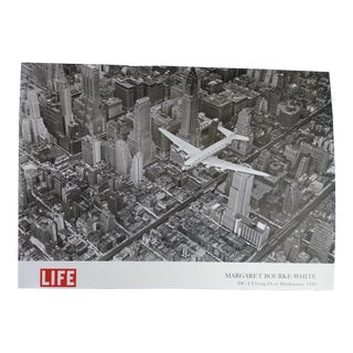 1939 Vintage Margaret Bourke White DC-4 Flying Over Manhattan Poster For Sale