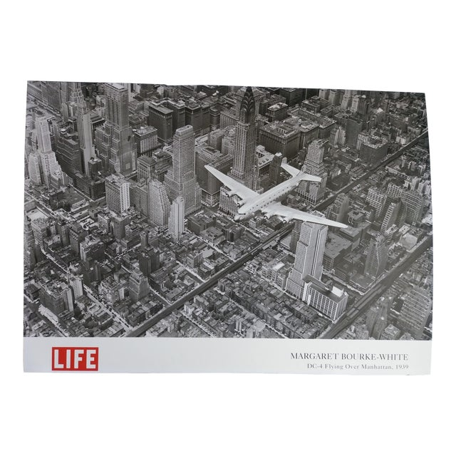 1939 Vintage Margaret Bourke White DC-4 Flying Over Manhattan Poster For Sale
