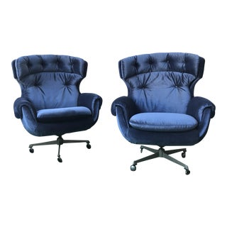 Mid-Century Blue Overman Wingback Chairs - a Pair For Sale