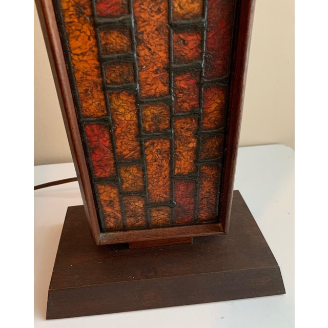 1960s Mosaic Style Wood Lamp Mid Century Modern Retro Lighting For Sale In Saint Louis - Image 6 of 10