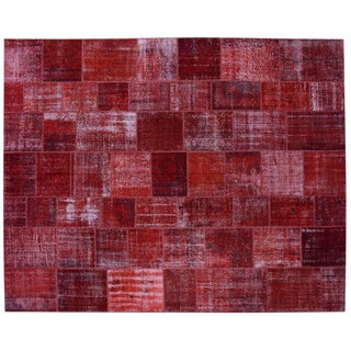 """Red Patchwork Overdyed Rug - 12' X 15'3"""" For Sale"""